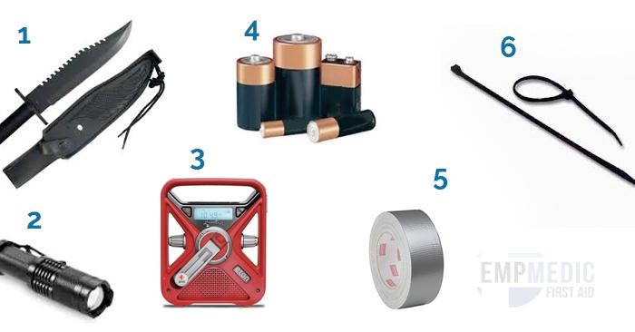 tools, batteries, radio, duct tape